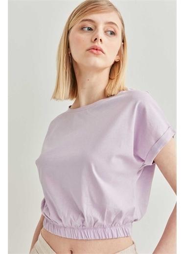 Vitrin VİTRİN Düşük Kol Bel Lastik Detaylı Bluz Lila